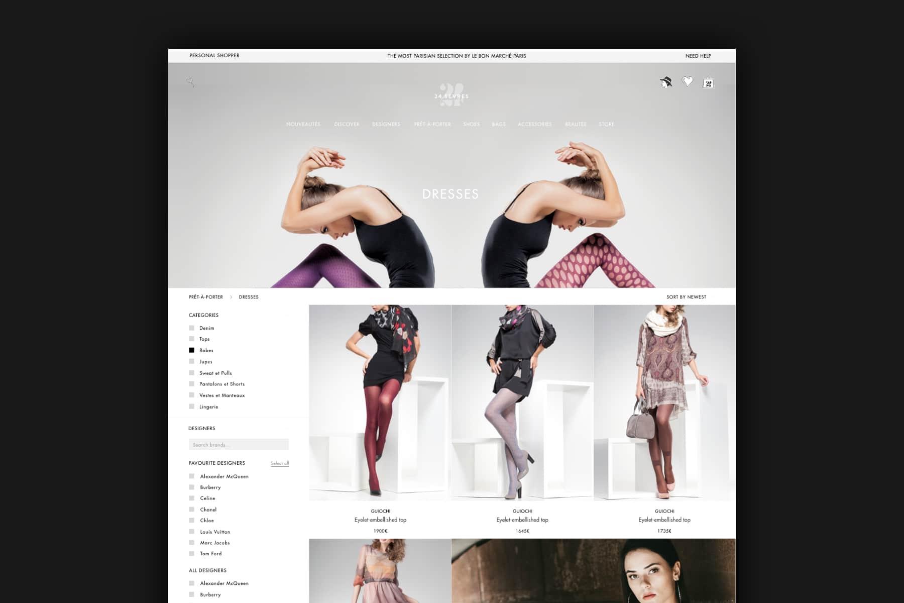 E-commerce version desktop